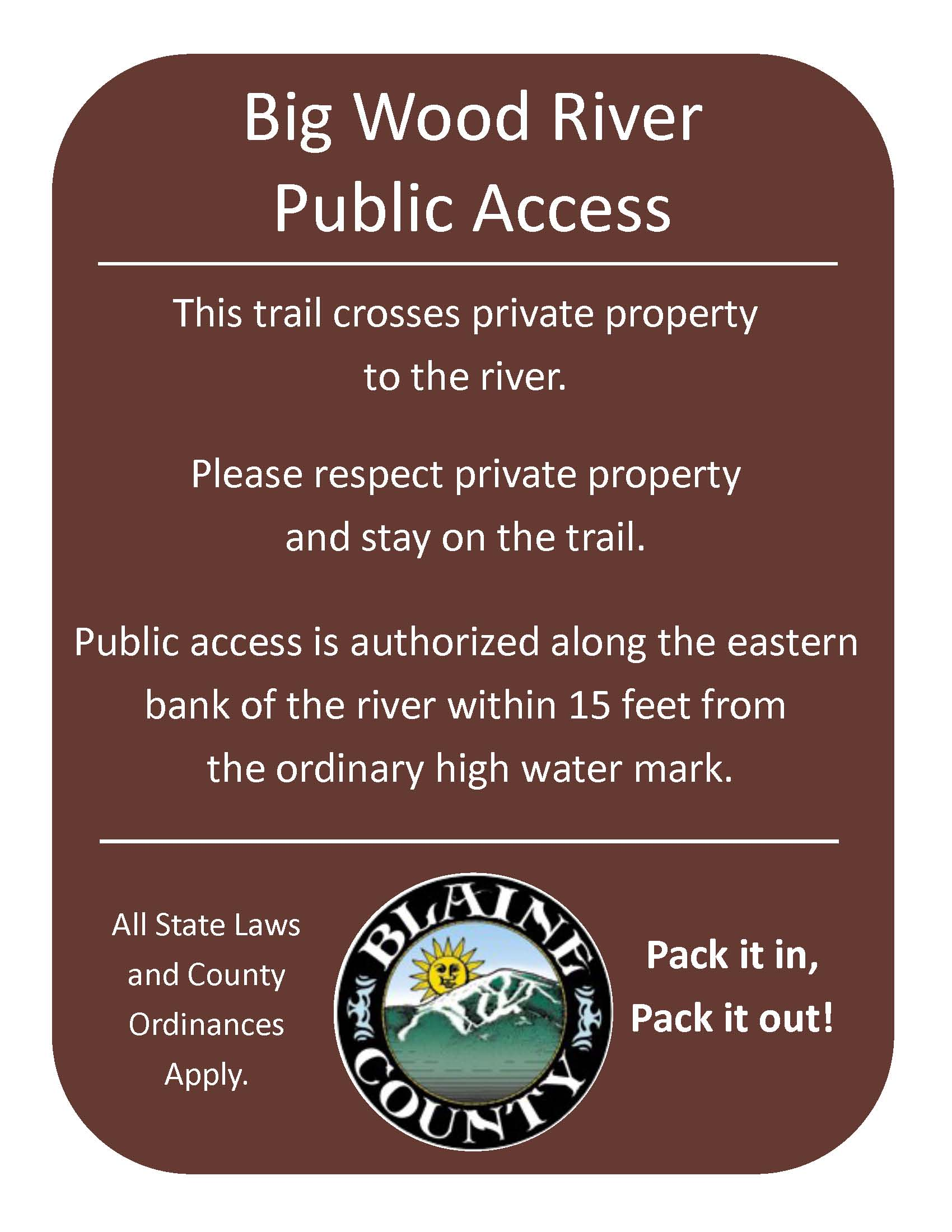 Public Access Trail Signage